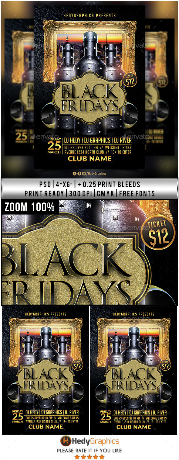 Black Fridays - Flyer Template - Clubs & Parties Events