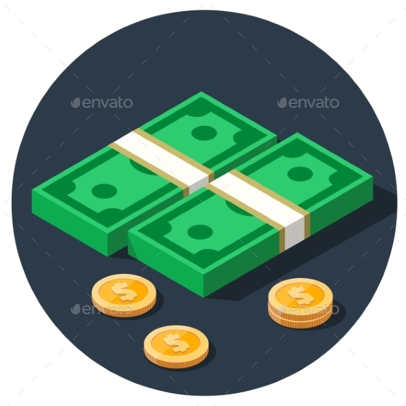 Money Dollar Piles Flat Icon - Concepts Business