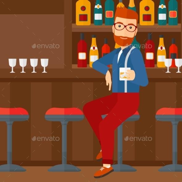 Man Sitting at Bar - People Characters