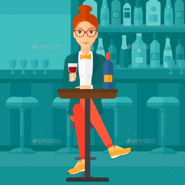 Woman Sitting at Bar - People Characters