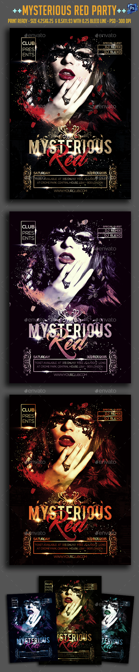 Mysterious Red Party Flyer  - Clubs & Parties Events