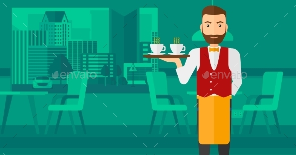 Waiter Holding Tray with Beverages - People Characters
