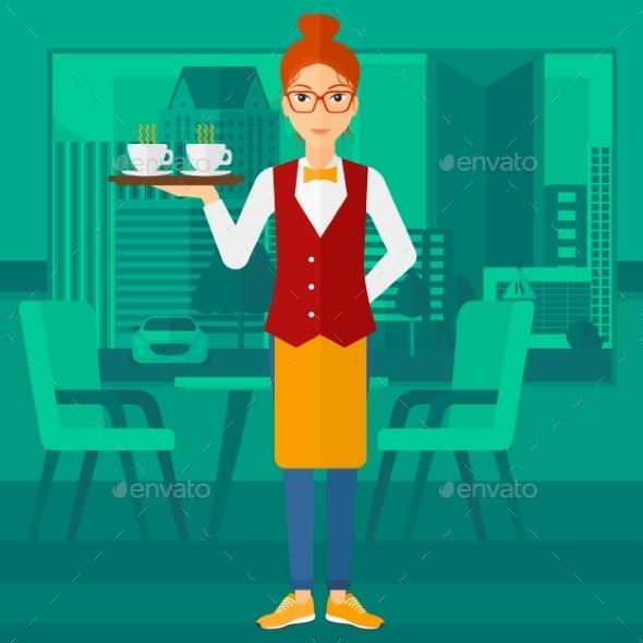 Waitress Holding Tray with Beverages - People Characters