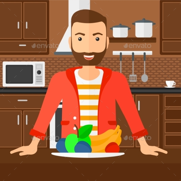 Man with Healthy Food - People Characters