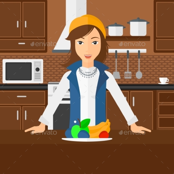 Woman with Healthy Food - People Characters