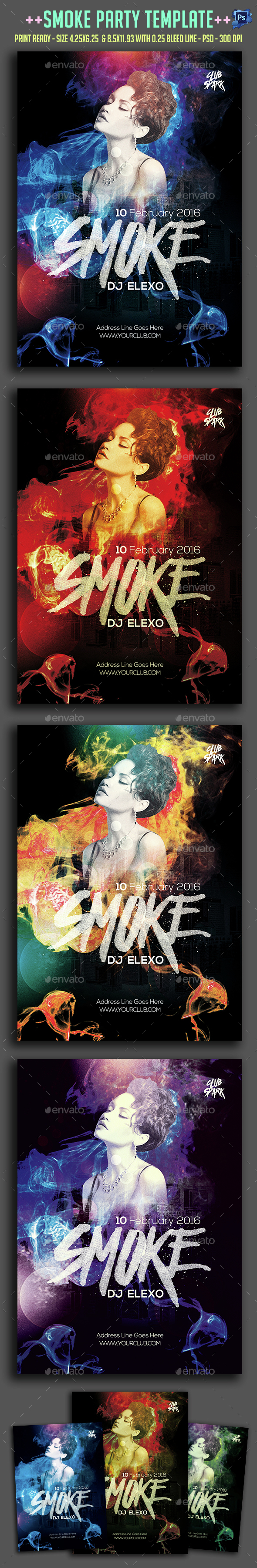 Smoke Party Flyer  - Clubs & Parties Events