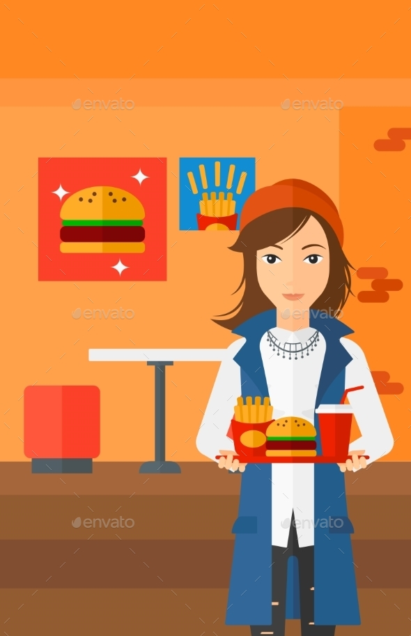 Woman with Fast Food - Food Objects