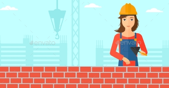 Bricklayer with Spatula and Brick - People Characters