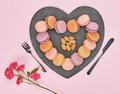 Still life, macarons, heart shape. Table setting - PhotoDune Item for Sale