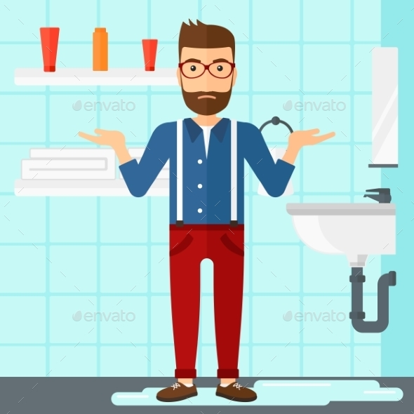 Man in Despair Standing Near Leaking Sink - People Characters