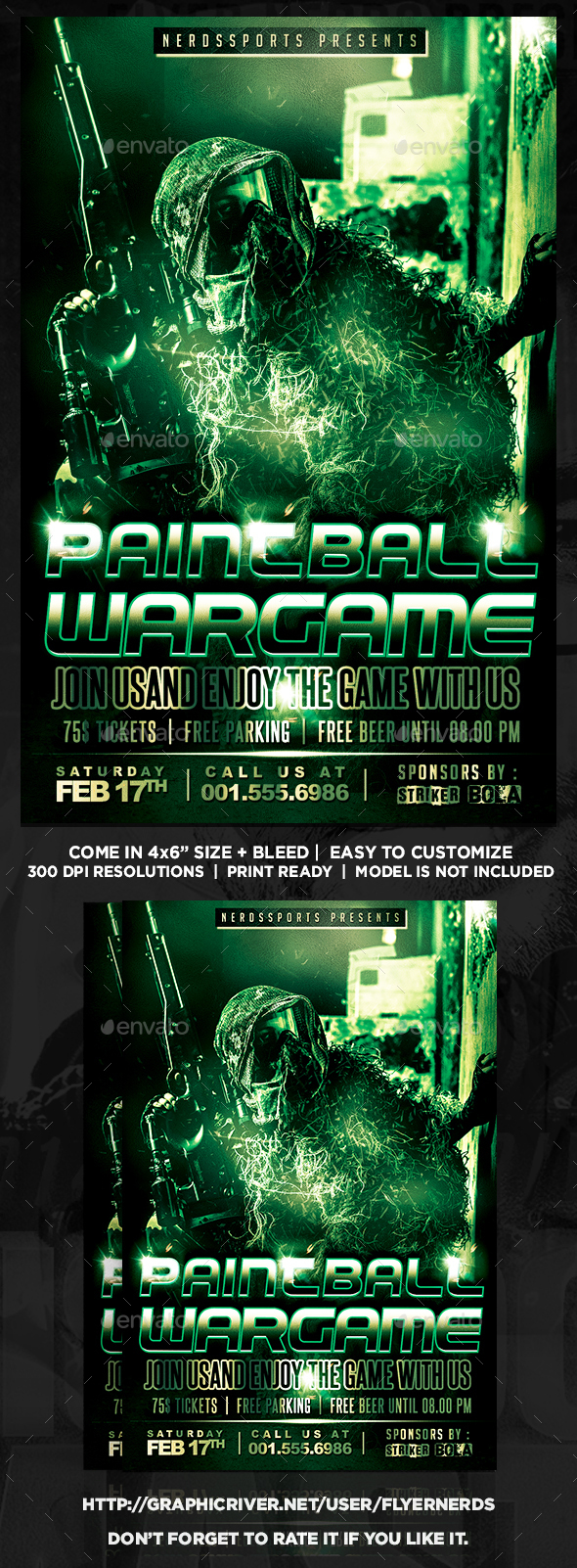 Paintball Wargame Sports Flyer - Sports Events