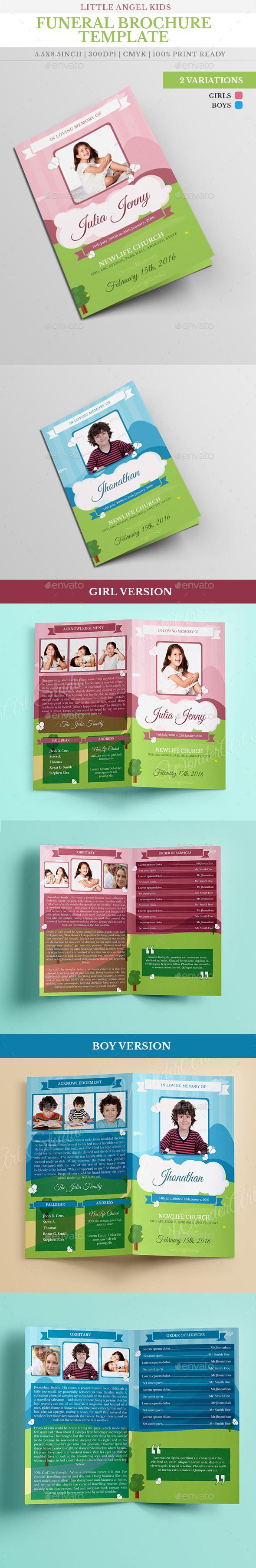 Little Angel Boy Girl Kid Funeral Brochure Template - Brochures Print Templates