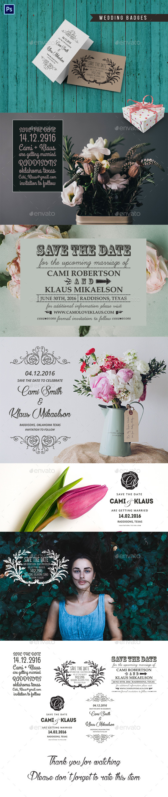 5 Wedding Badges - Badges & Stickers Web Elements