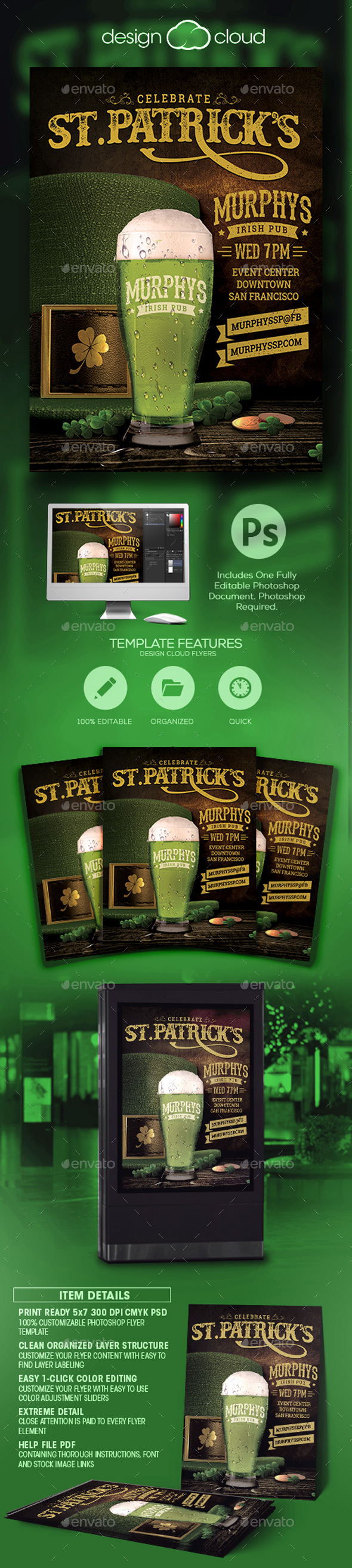 Saint Patrick's Day Event Flyer Template - Holidays Events
