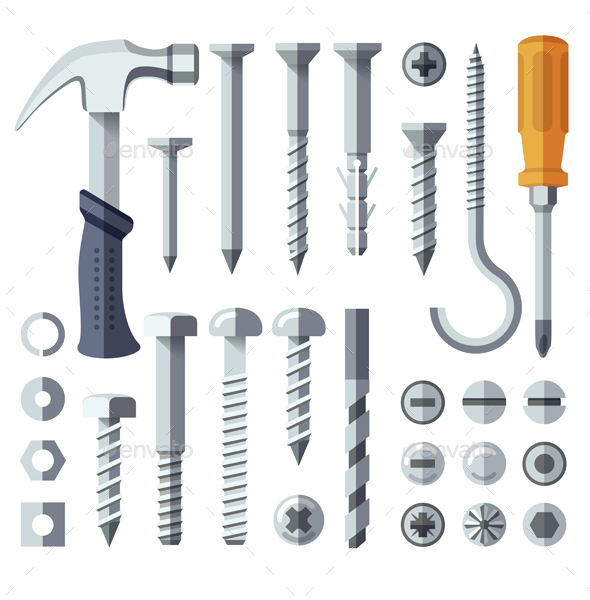 Repair Tools Flat Icons Set - Man-made Objects Objects