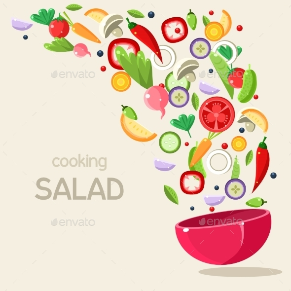 Cooking Salad Illustration - Food Objects