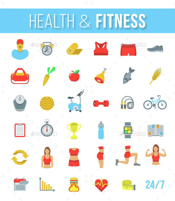 Fitness Gym and Healthy Lifestyle Flat Vector Icons - Miscellaneous Icons