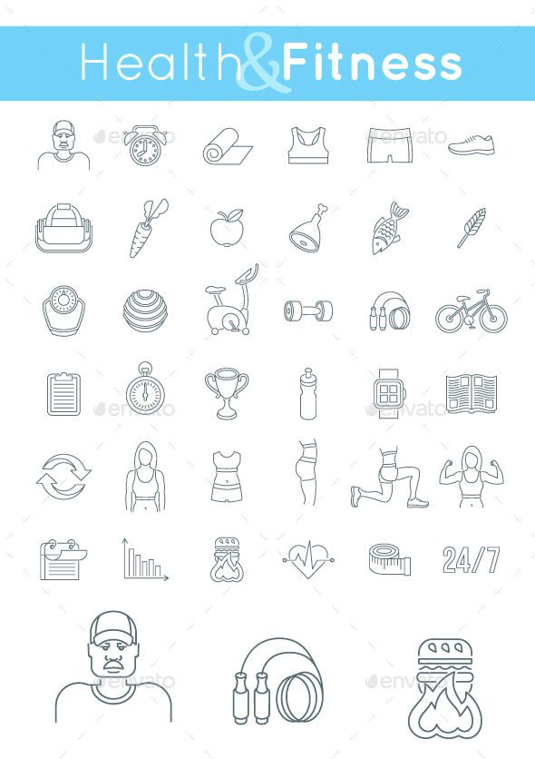 Fitness Gym and Healthy Lifestyle Flat Thin Line Icons - Miscellaneous Icons
