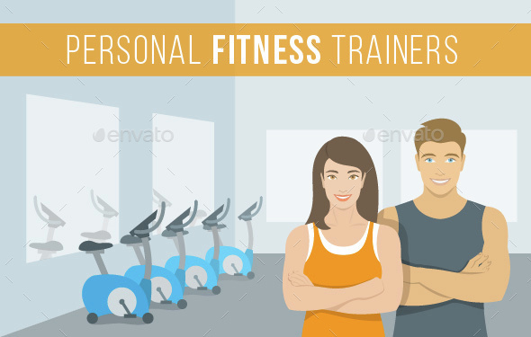Personal Fitness Trainers Man and Woman in Gym - People Characters