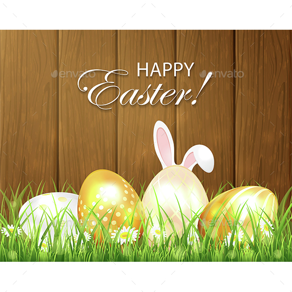 Wooden Background with Easter Eggs and Rabbit - Miscellaneous Seasons/Holidays