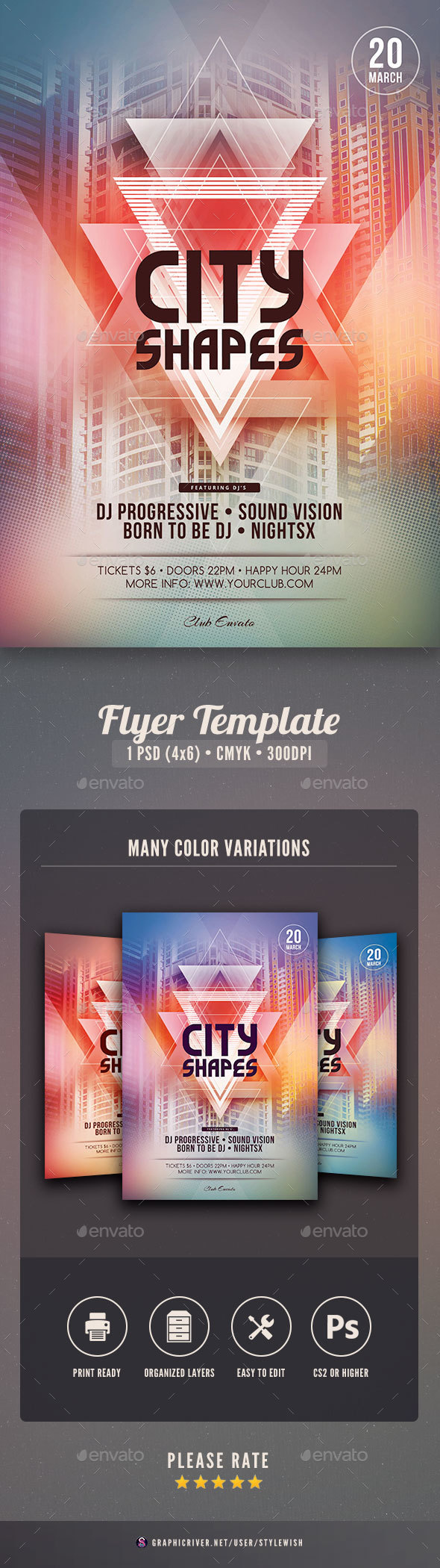 City Shapes Flyer Template - Clubs & Parties Events