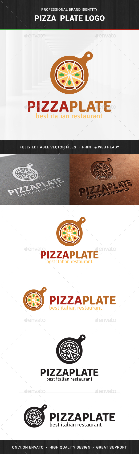 Pizza Plate Logo Template - Food Logo Templates