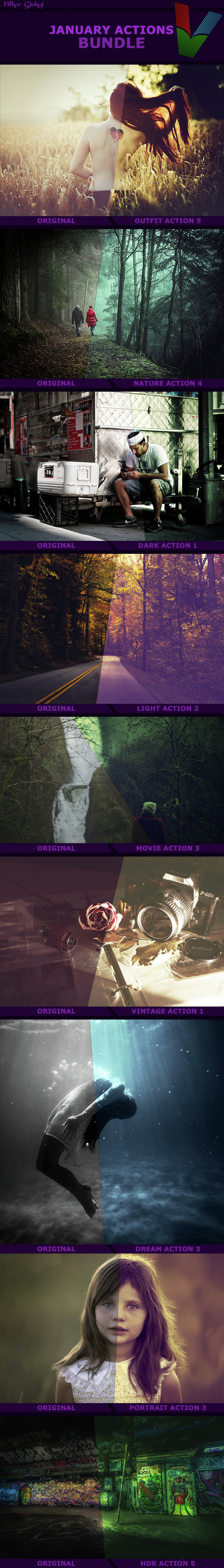 January Photoshop Actions Bundle - Photo Effects Actions