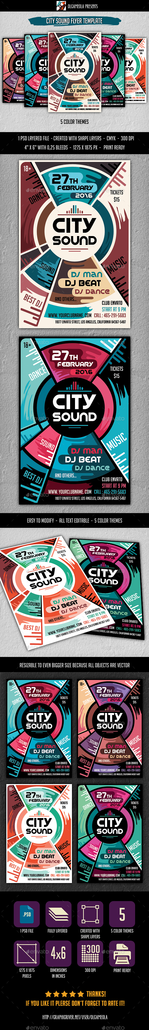 City Sound Flyer Template - Clubs & Parties Events