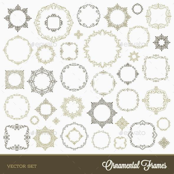 Set of Flourishes Ornament Frames - Borders Decorative