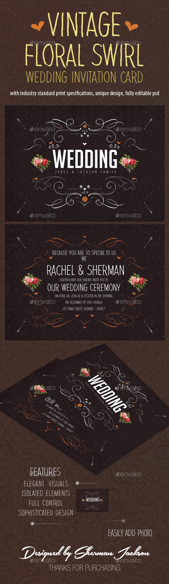 Vintage Floral Swirl Wedding Invitation Card - Weddings Cards & Invites