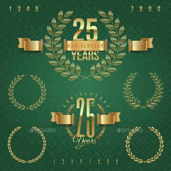 Anniversary Golden Emblems and Decorative Elements - Decorative Symbols Decorative
