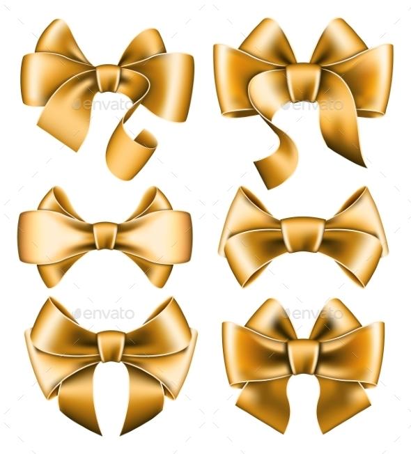 Six Gold Bows - Birthdays Seasons/Holidays
