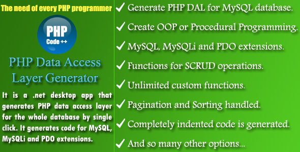 PHP DAL Generator - CodeCanyon Item for Sale