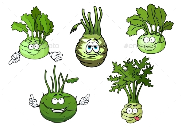 Kohlrabi Cabbage Vegetables Cartoon Characters - Food Objects