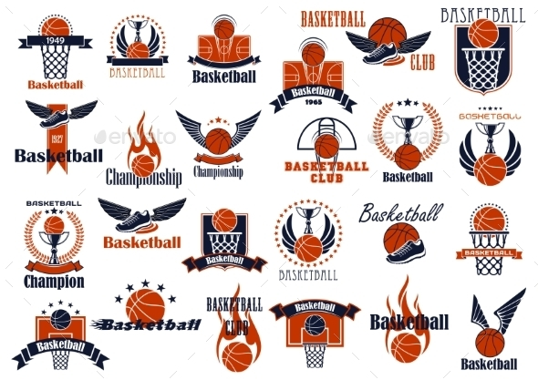 Basketball Sport Game Orange And Blue Icons - Sports/Activity Conceptual