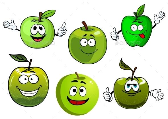 Cartoon Fresh Green Smith Apple Fruits - Food Objects