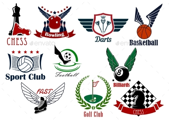 Sporting Game Or Team Emblems In Retro Style - Sports/Activity Conceptual