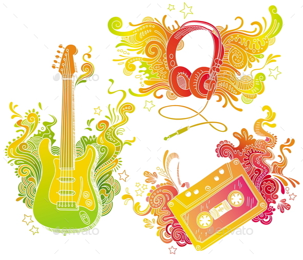 Musical Equipments with Doodle Decor - Decorative Symbols Decorative