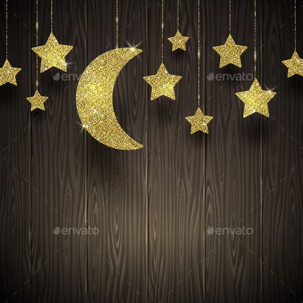 Glitter Gold Stars and Moon on a Wooden Texture Background - Backgrounds Decorative
