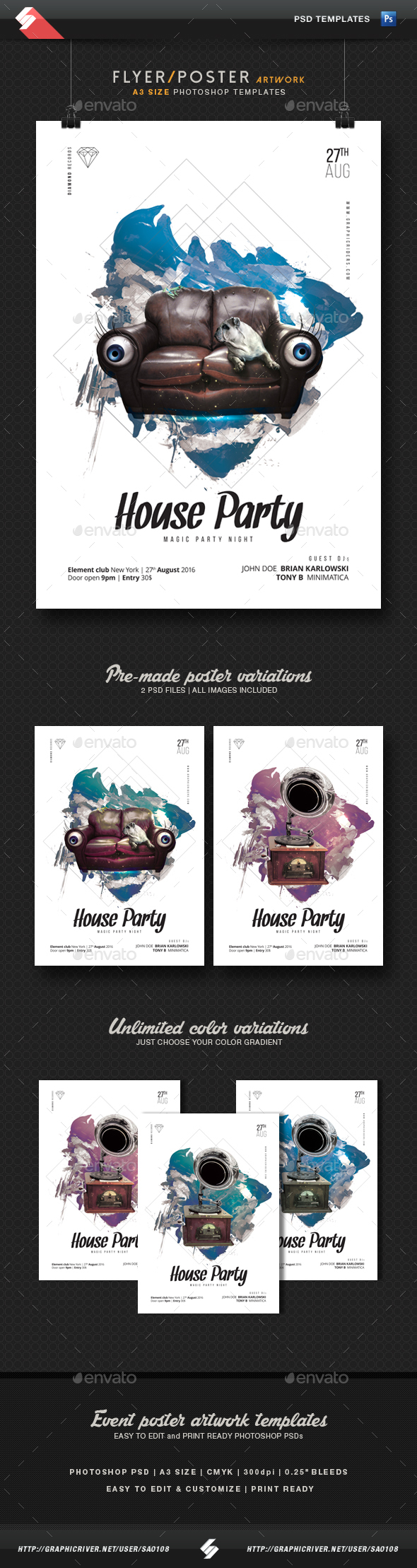 House Party - Minimal Flyer / Poster Templates A3 - Clubs & Parties Events
