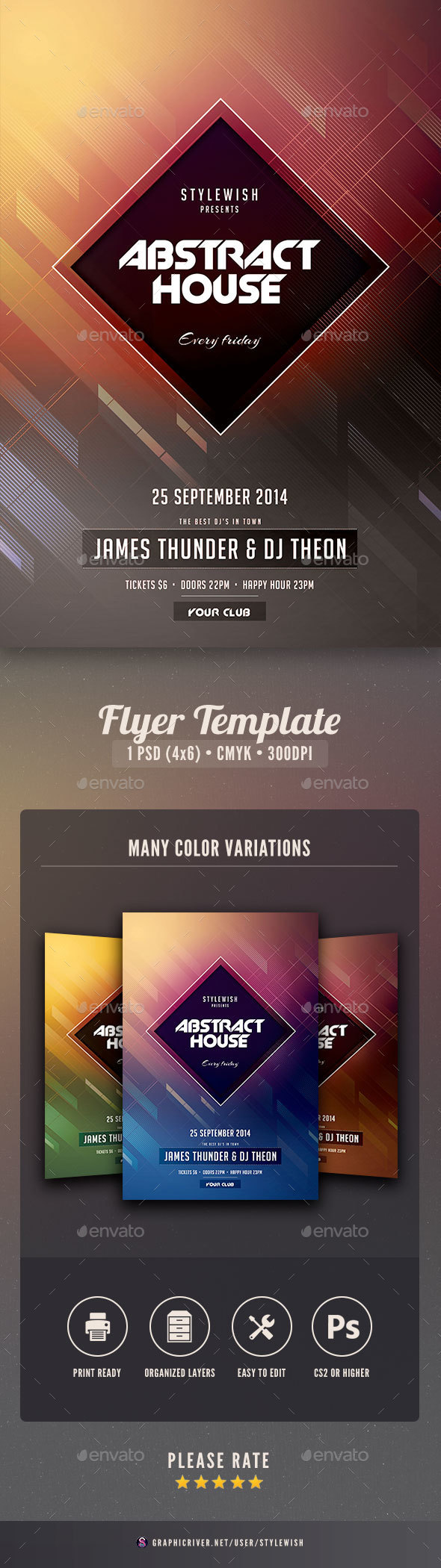 Abstract House Flyer - Clubs & Parties Events