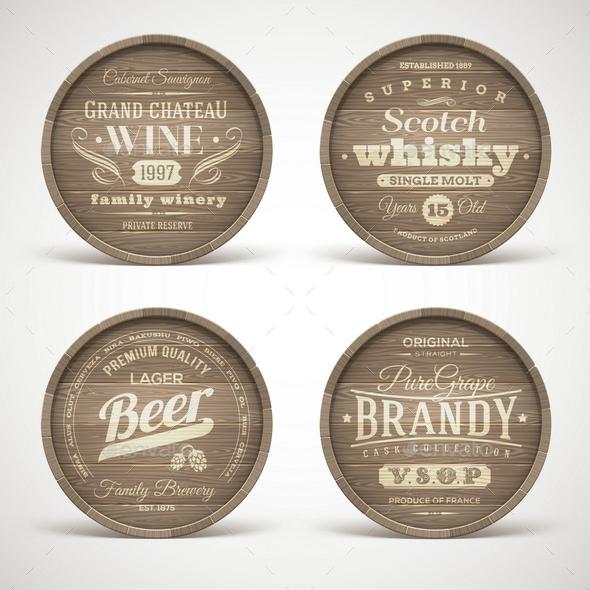 Set of Wooden Casks with Alcohol Drinks Emblems - Decorative Symbols Decorative