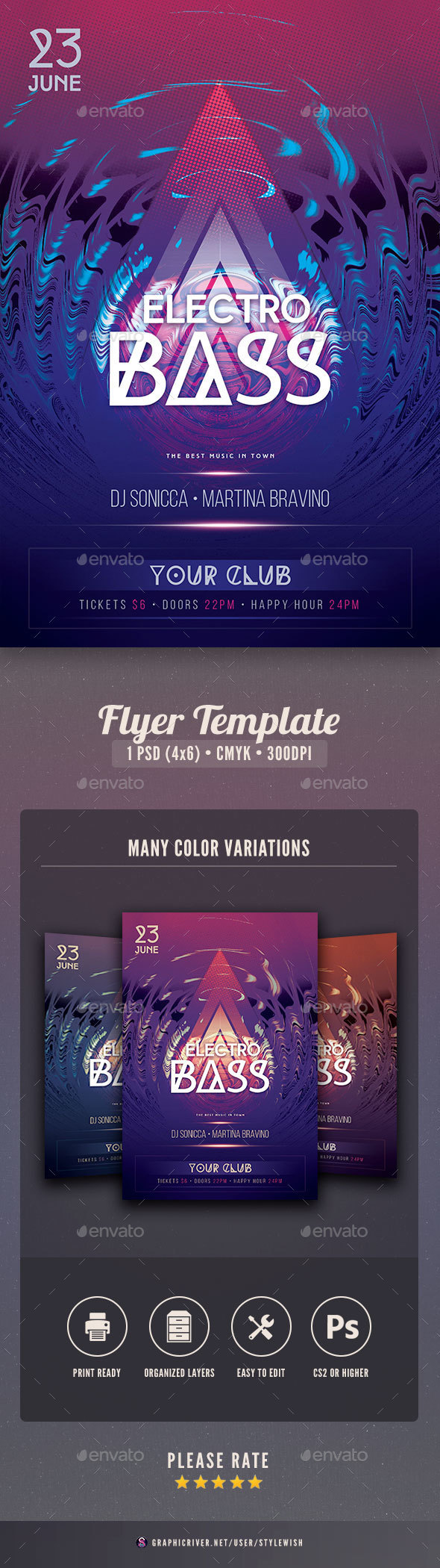 Electro Bass Flyer - Clubs & Parties Events