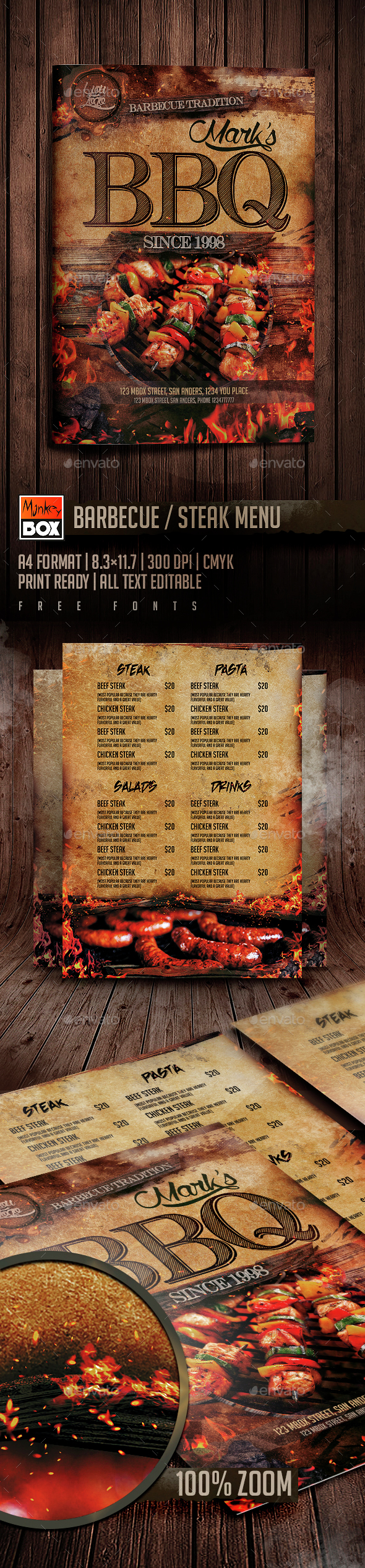 BBQ Steak Menu - Food Menus Print Templates