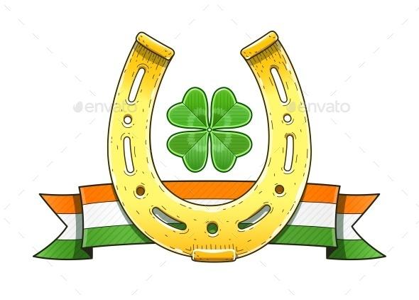 Saint Patrick's Day Symbols Horseshoe Flag - Decorative Symbols Decorative