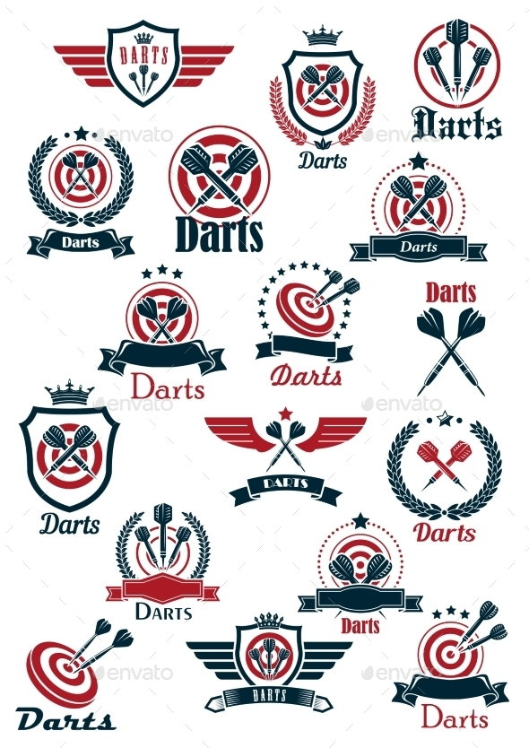 Sport Darts Game Symbols And Icons - Sports/Activity Conceptual