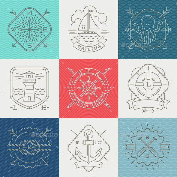 Adventures and Travel Emblems - Decorative Symbols Decorative