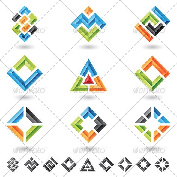squares, rectangles, triangles - Abstract Icons