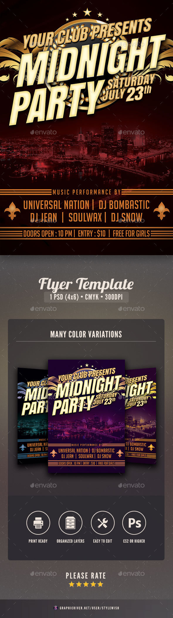 Midnight Party Flyer - Clubs & Parties Events