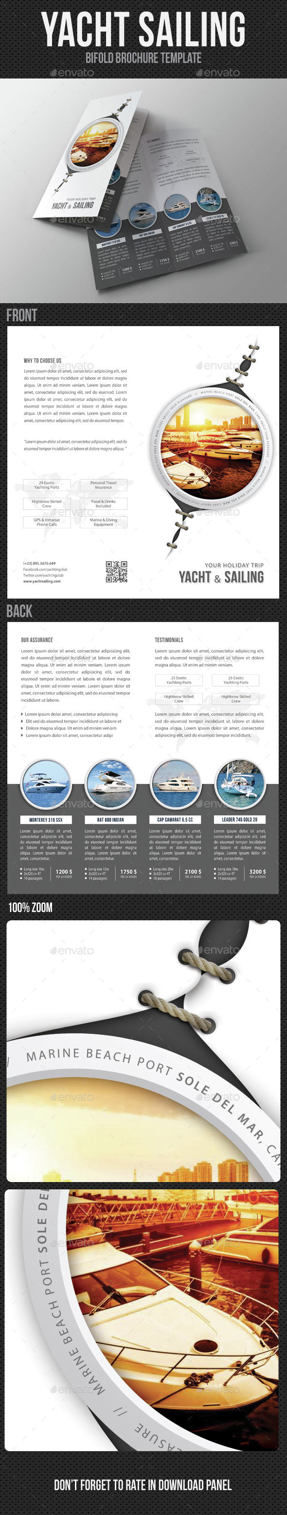 Yacht Boat Sailing Bifold Brochure - Brochures Print Templates